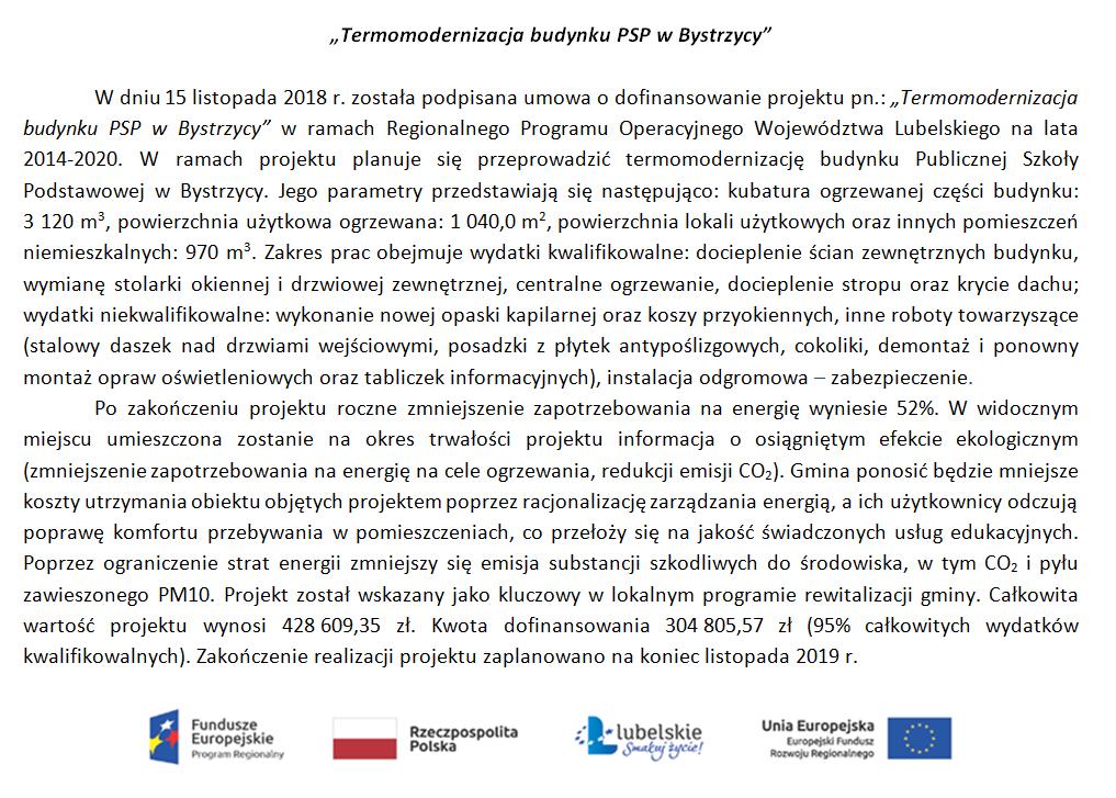 """""""Termomodernizacja budynku PSP w Bystrzycy""""!"""