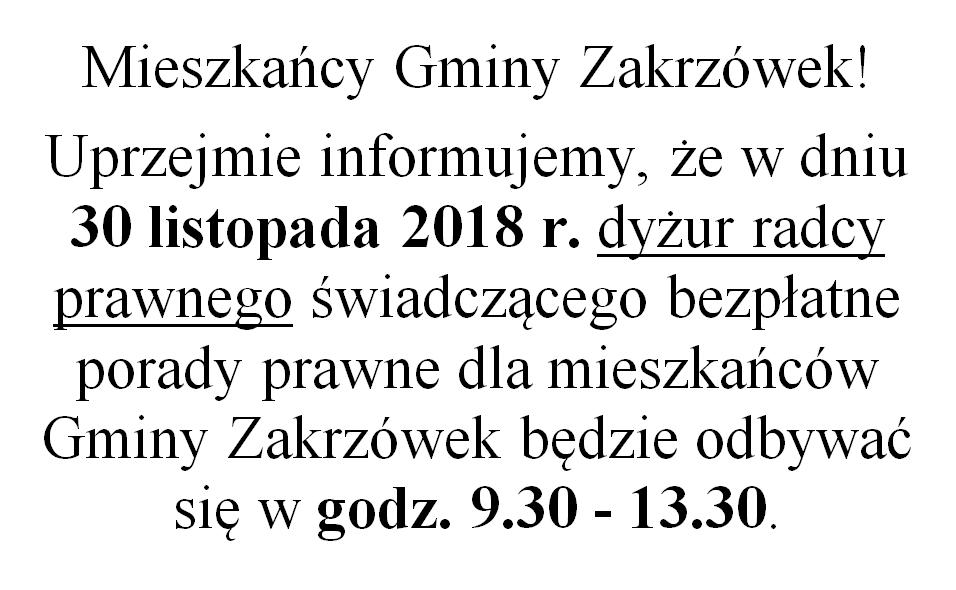 Zmiana godzin dyżuru radcy prawnego w dniu 30 listopada 2018 r.