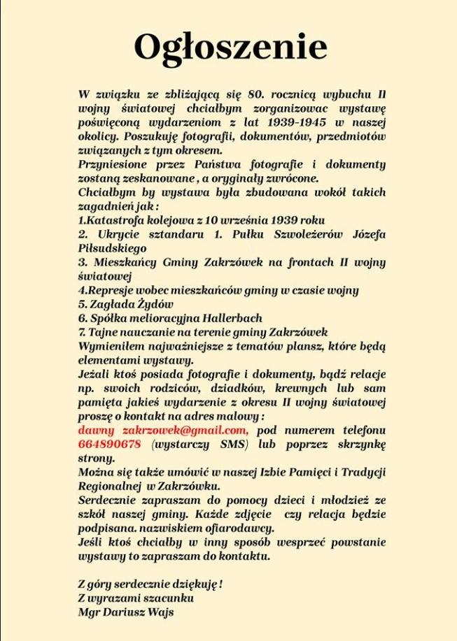Informacja dla mieszkańców Gminy Zakrzówek!