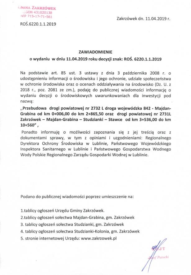 Zawiadomienie o wydaniu w dniu 11.04.2019r. decyzji znak: ROŚ.6220.1.1.2019