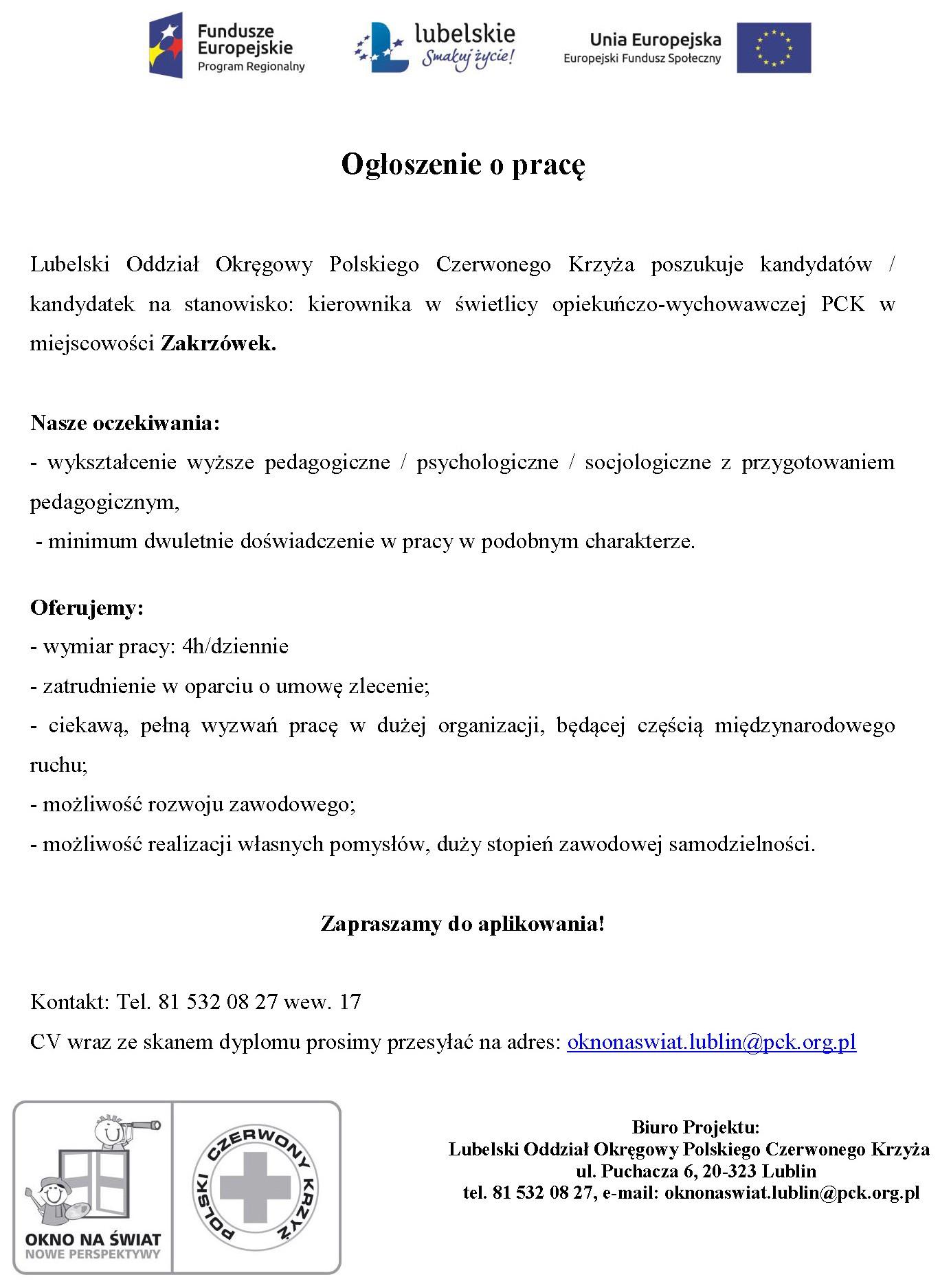 Ogłoszenie o pracę