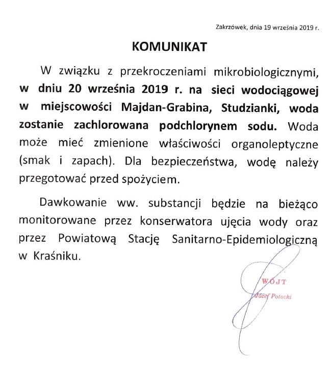 Komunikat dla mieszkańców miejscowości Majdan Grabina i Studzianki!