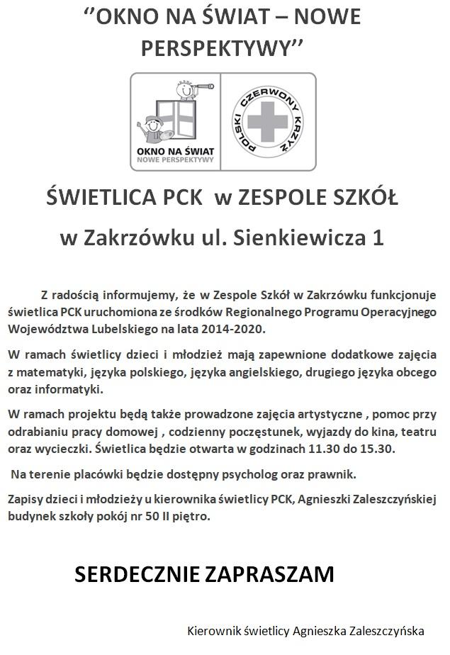 Świetlica PCK w Zespole Szkół w Zakrzówku