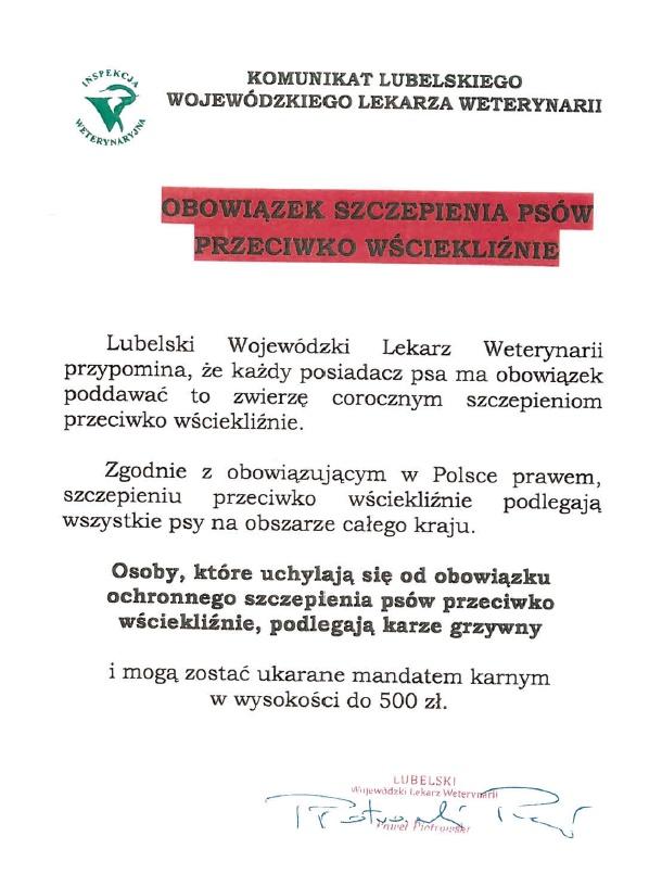 Komunikat Lubelskiego Wojewódzkiego Lekarza Weterynarii!