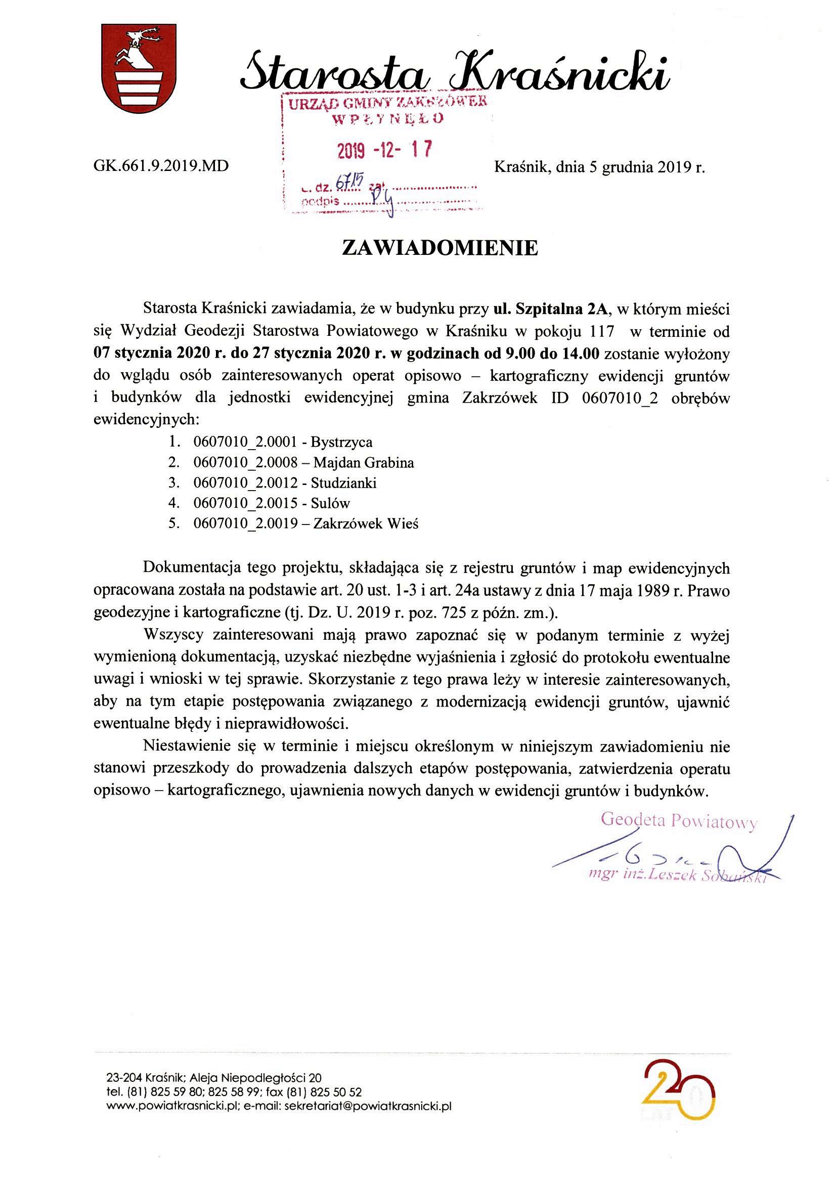 Zawiadomienie Starosty Kraśnickiego o wyłożeniu do wglądu operatu opisowo-kartograficznego