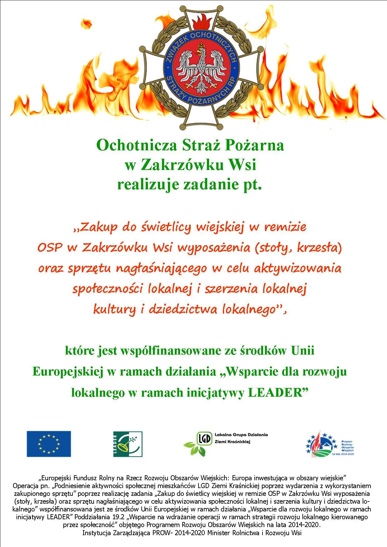 Realizacja projektu przez OSP Zakrzówek Wieś