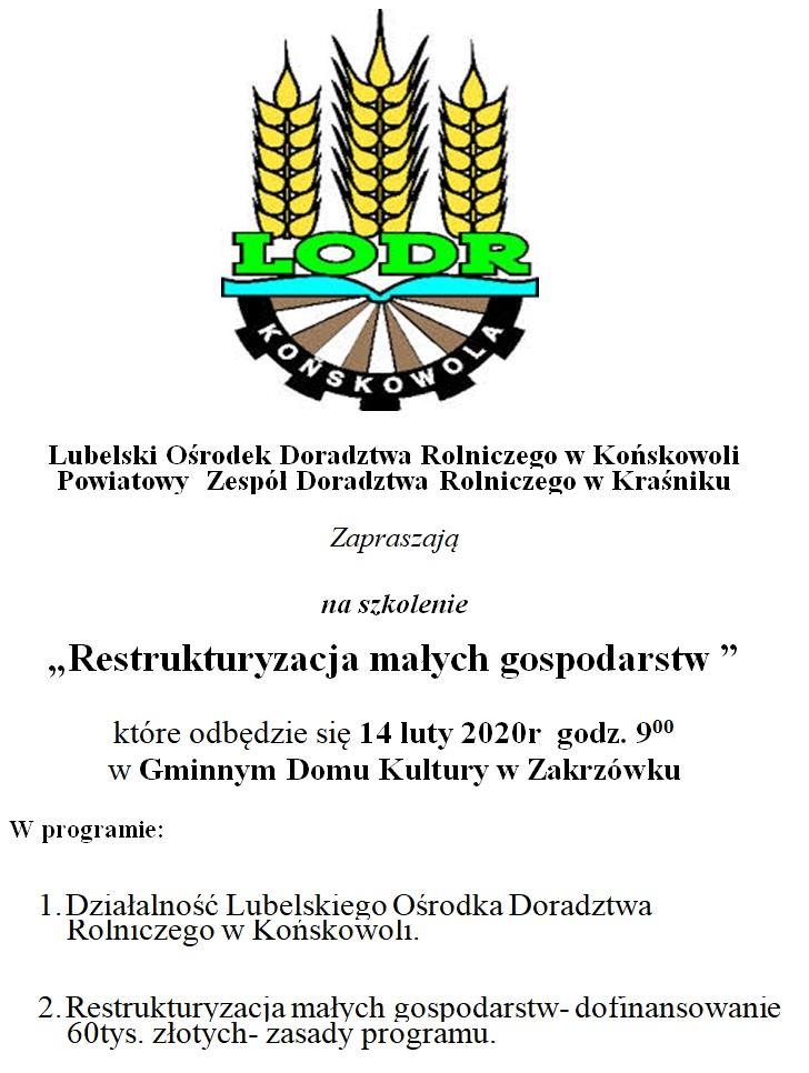 """Szkolenie """"Restrukturyzacja małych gospodarstw """""""