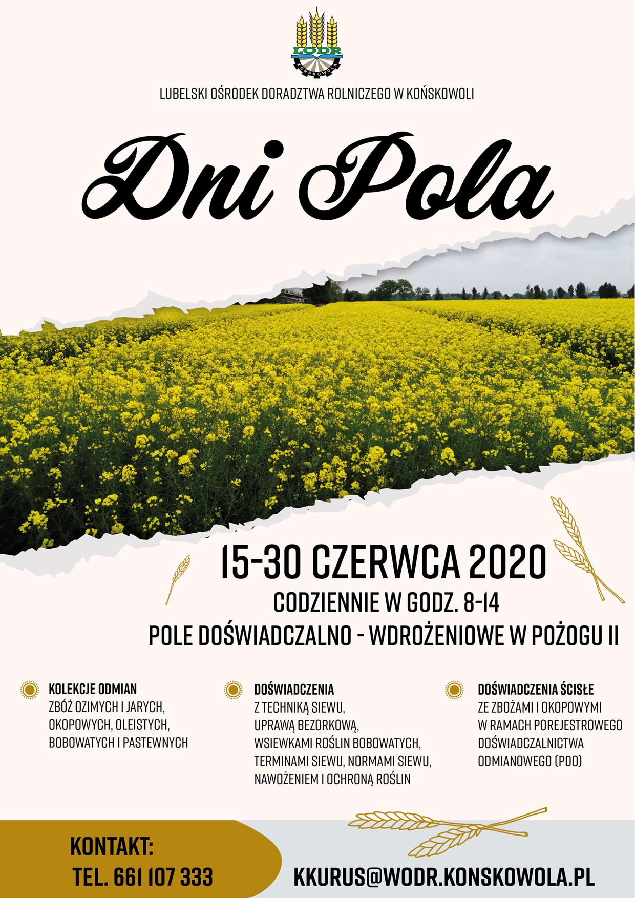 """""""Dni Pola"""" 15-30 czerwca 2020 r."""