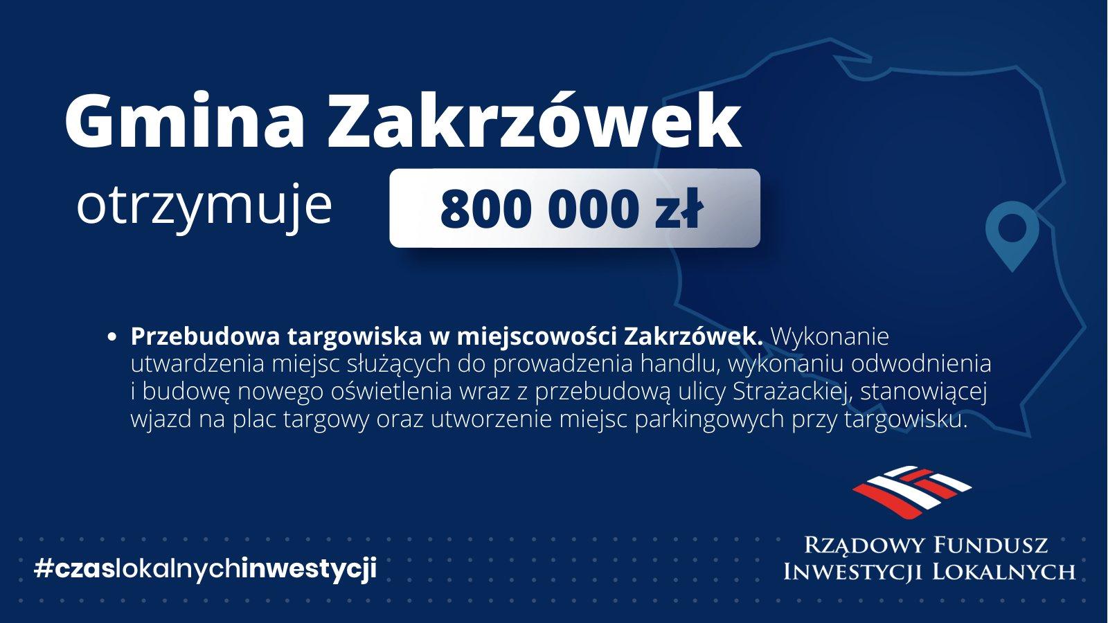 800 000 zł dla Gminy Zakrzówek na przebudowę targowiska!