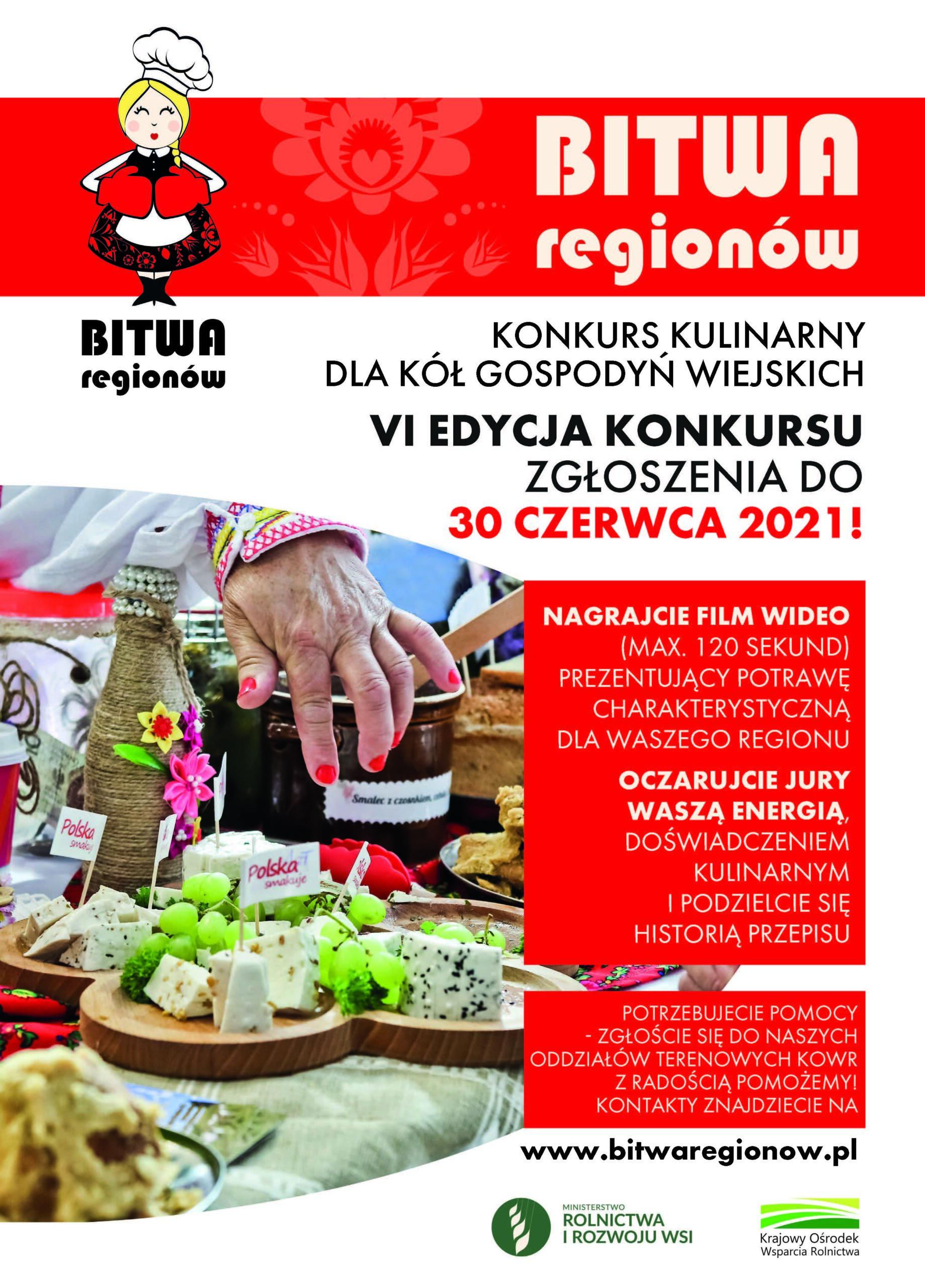"""Konkurs kulinarny ,,Bitwa Regionów"""" 2021 dla Kół Gospodyń Wiejskich"""