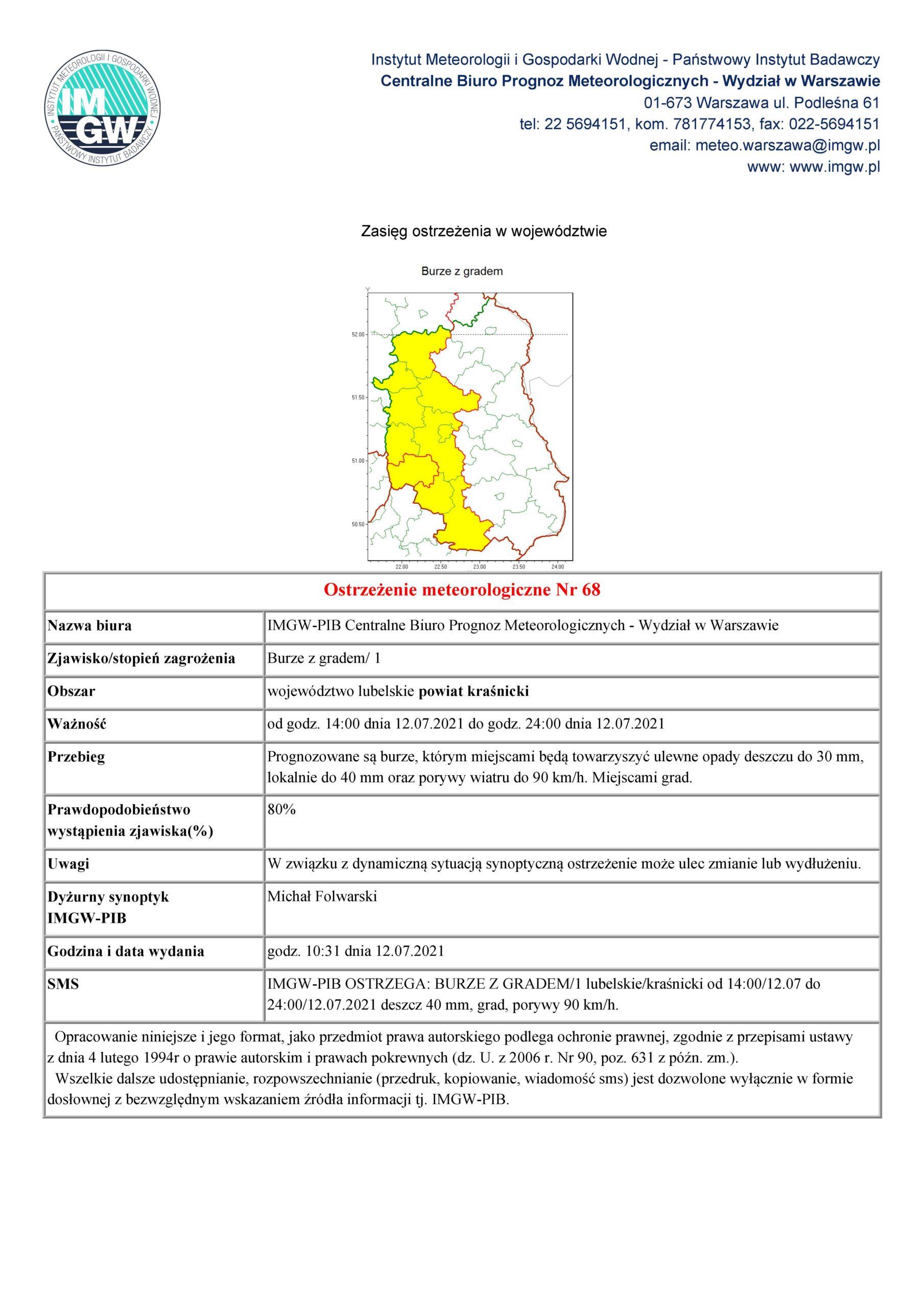 Ostrzeżenie meteorologiczne Nr 68 z dnia 12.07.2021 r.