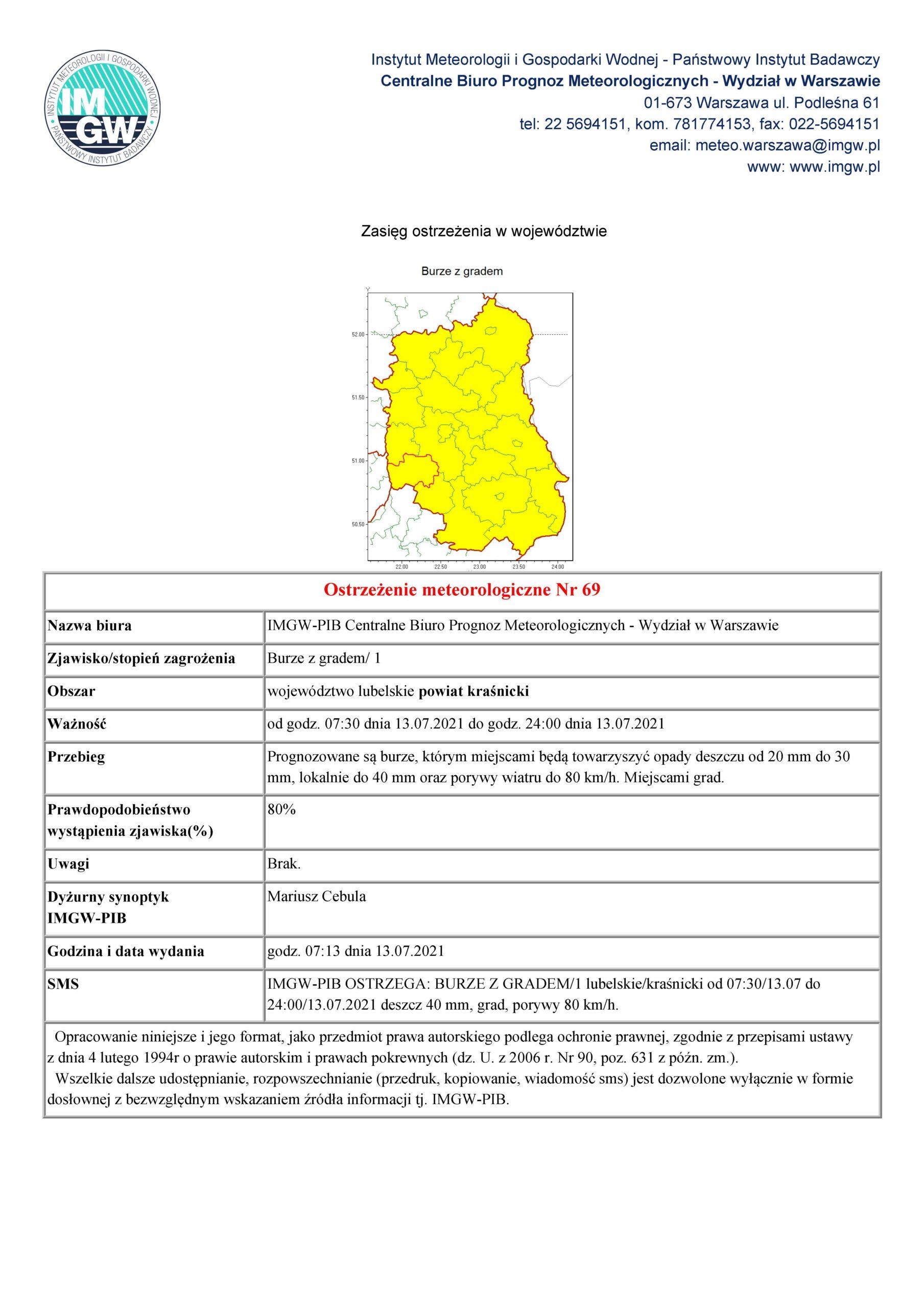 Ostrzeżenie meteorologiczne Nr 69 z dnia 13.07.2021 r.