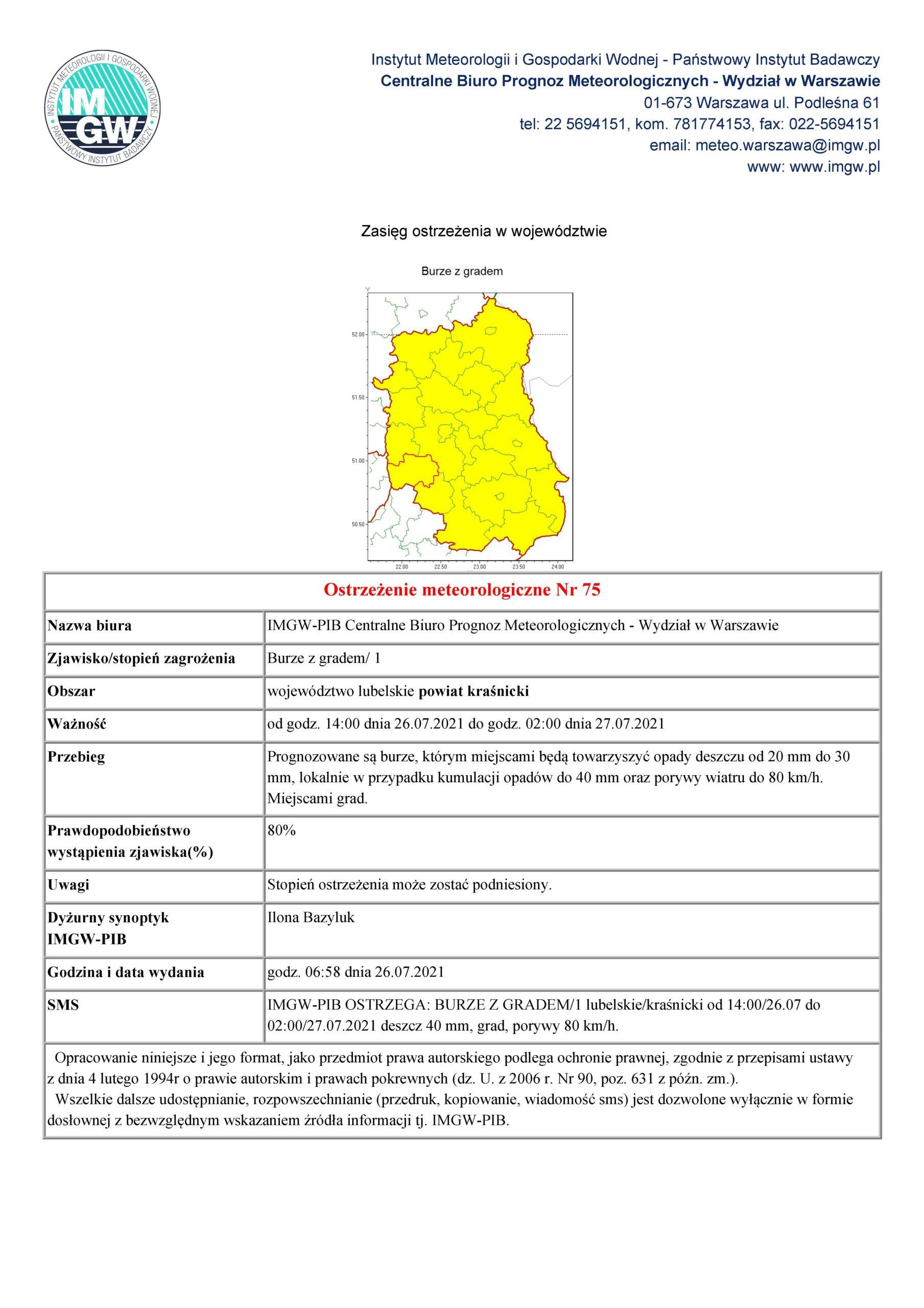 Ostrzeżenie meteorologiczne nr 75 z dnia 26.07.2021 r.