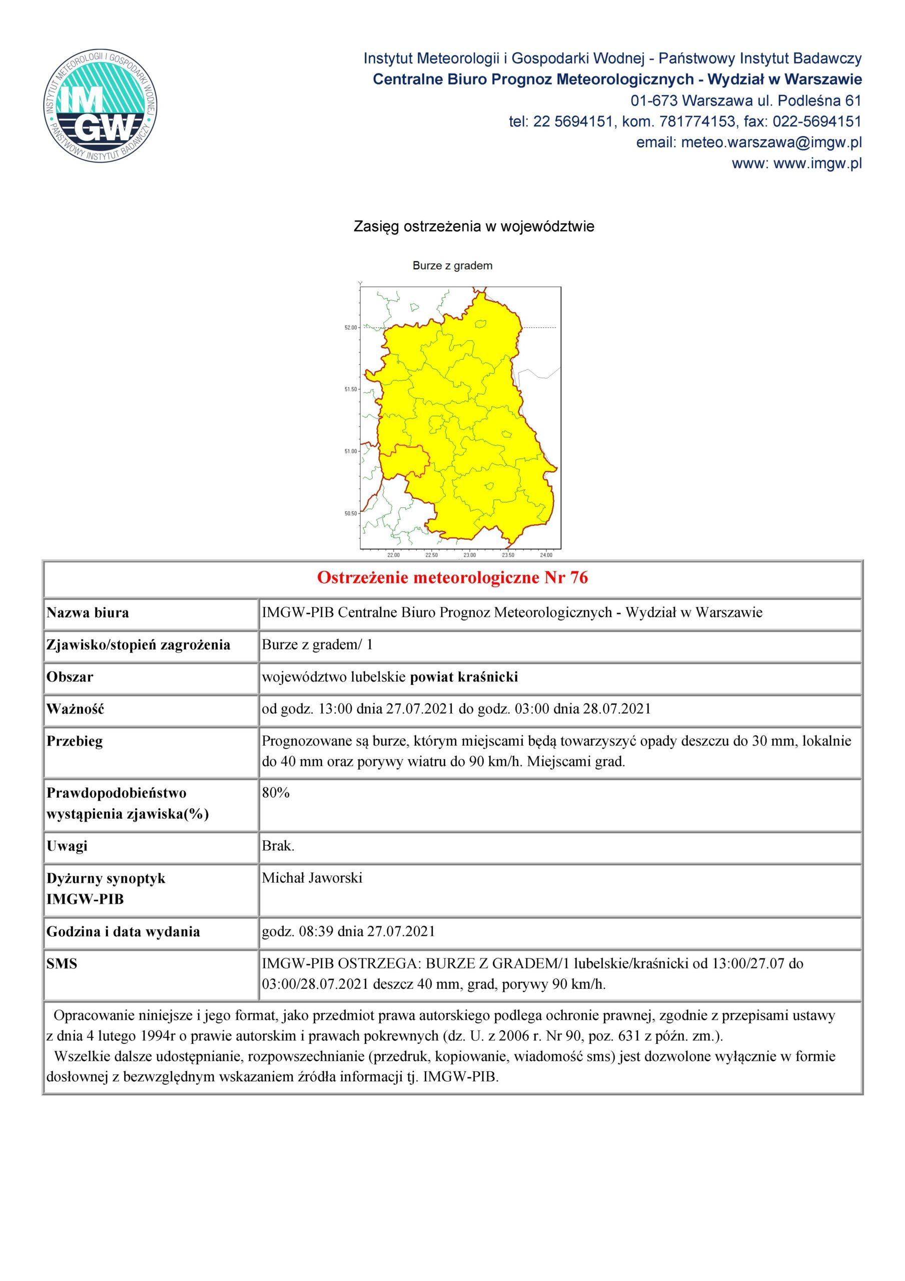 Ostrzeżenie meteorologiczne Nr 76 z dnia 27.07.2021 r.