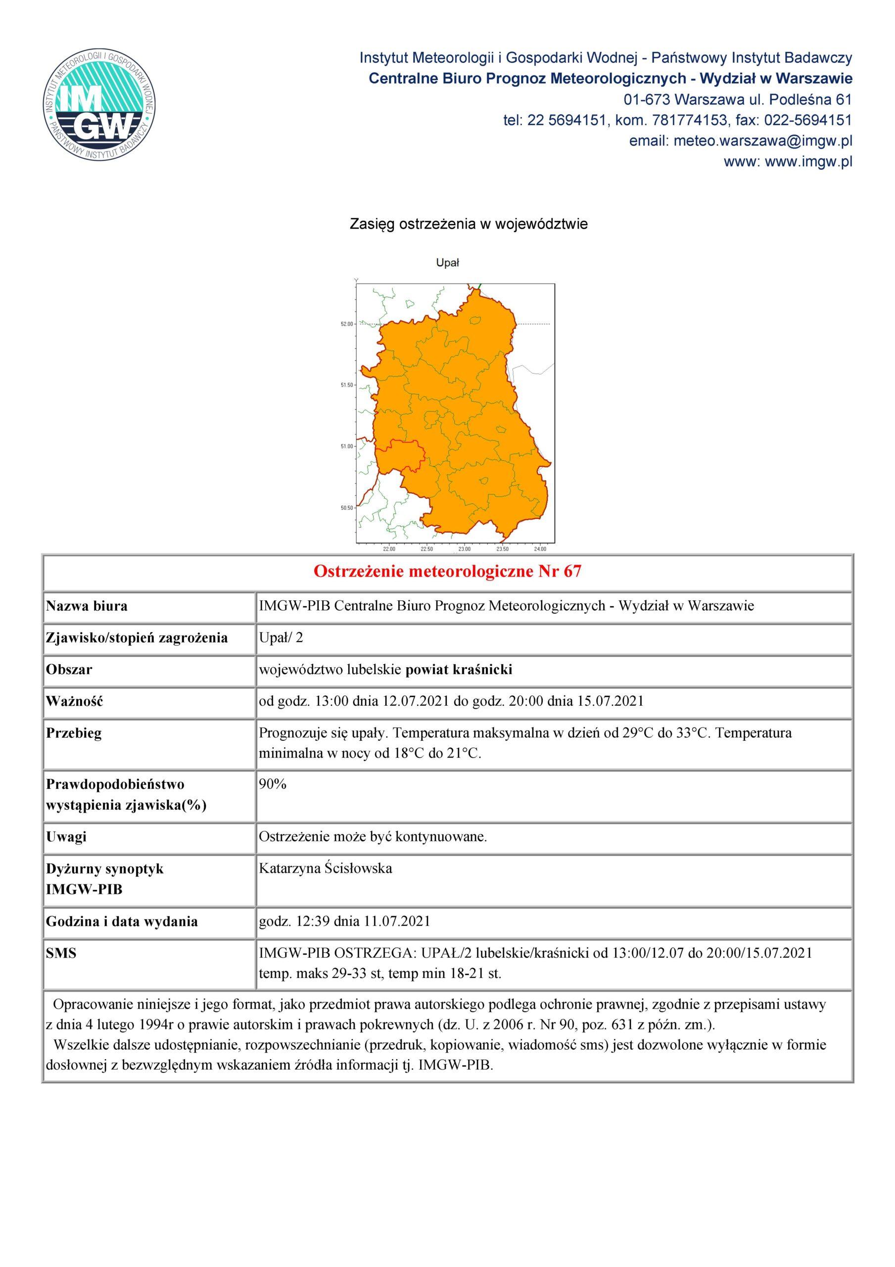 Ostrzeżenie meteorologiczne Nr 67 z dnia 11.07.2021 r.
