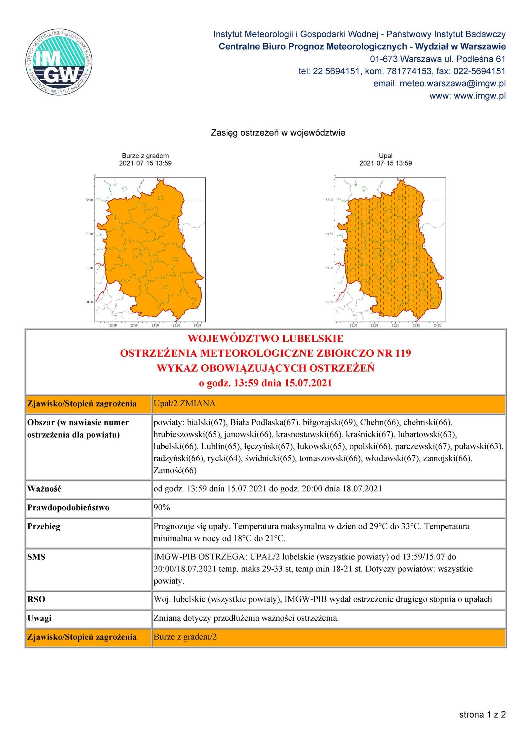Ostrzeżenie meteorologiczne Nr 119 z dnia 15.07.2021 r.