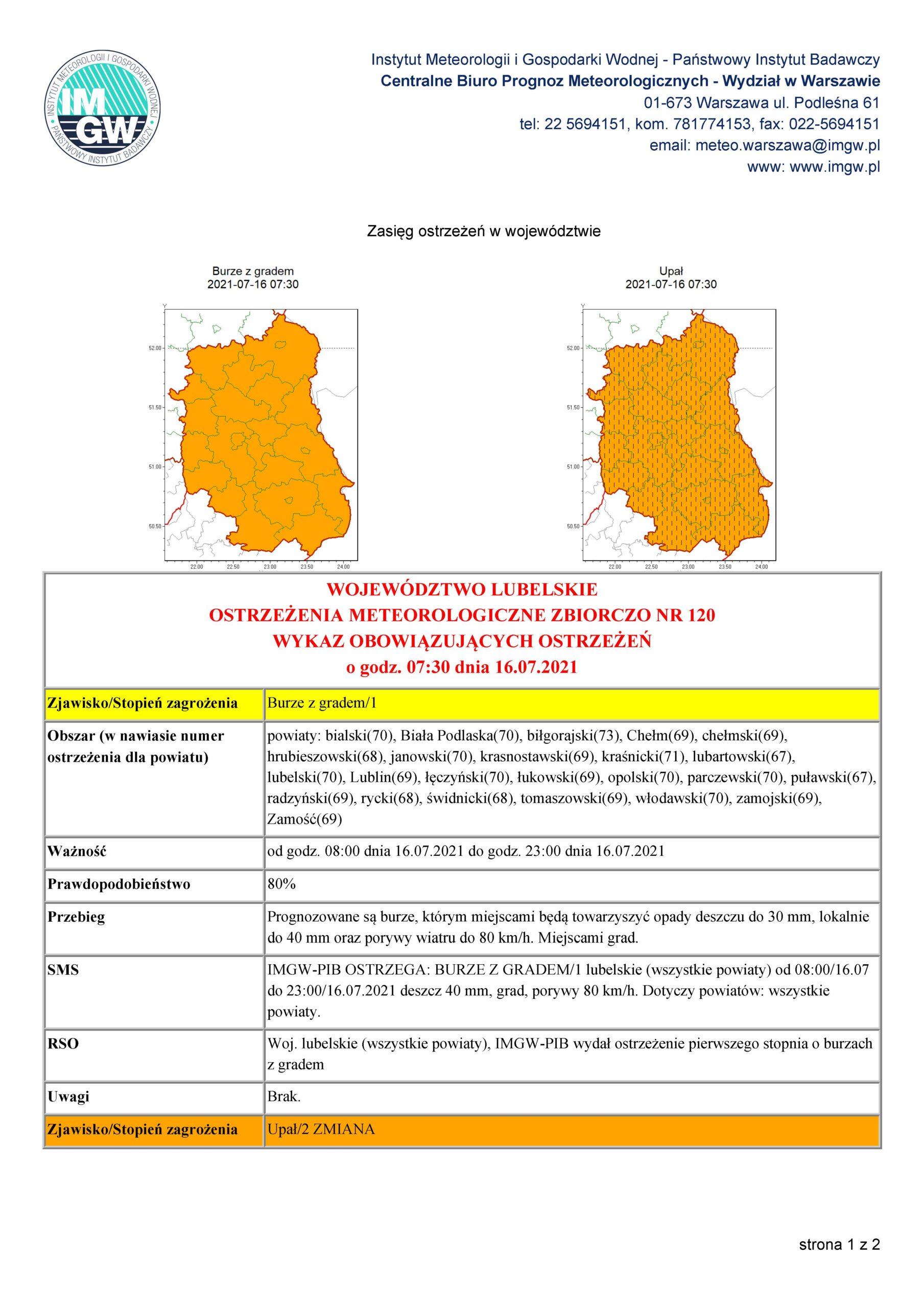 Ostrzeżenie meteorologiczne Nr 120 z dnia 16.07.2021 r.