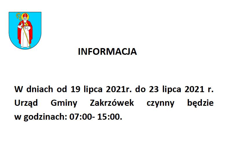 Informacja- zmiana godzin pracy Urzędu