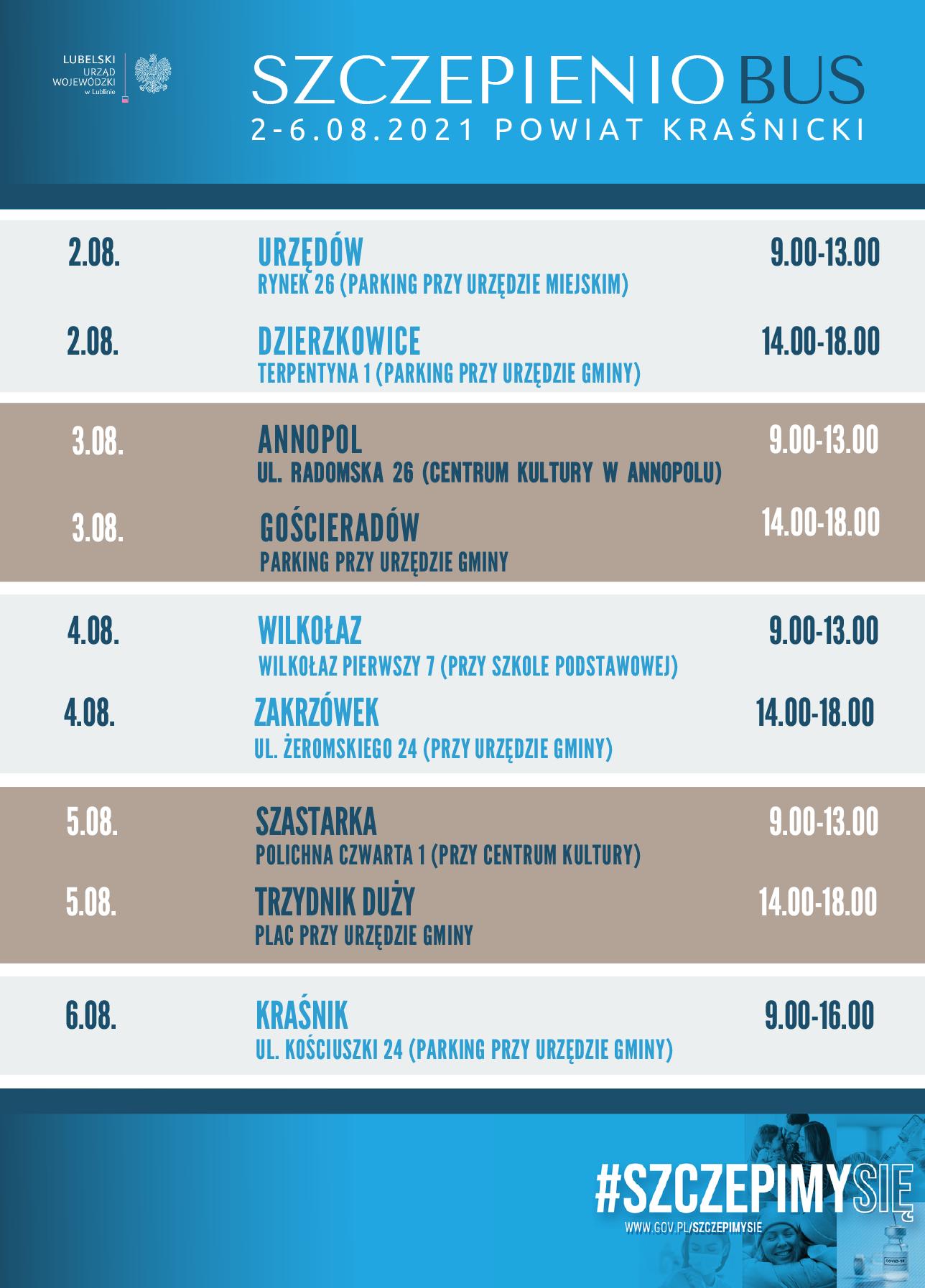 Harmonogram trasy szczepieniobusa w powiecie kraśnickim w dniach 02-06.08.2021r.