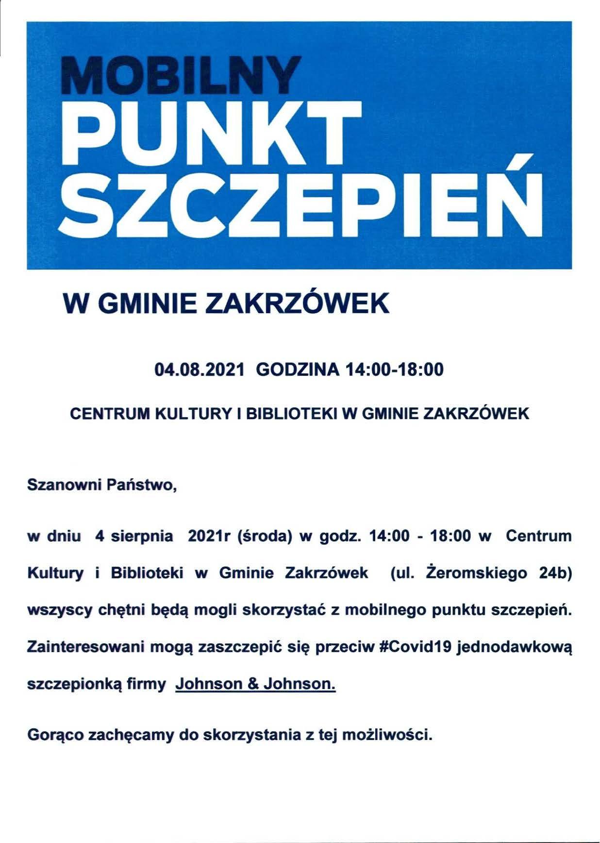 Mobilny Punkt Szczepień 04.08.2021 r.