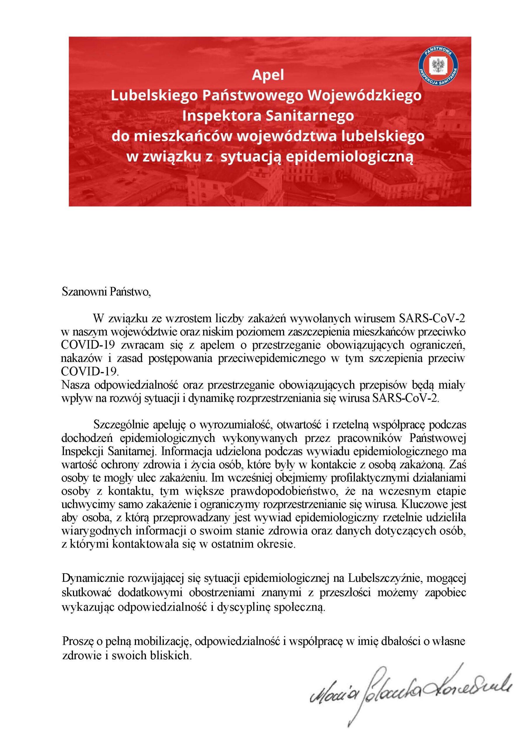 Apel Wojewódzkiego Inspektora Sanitarnego w Lublinie.