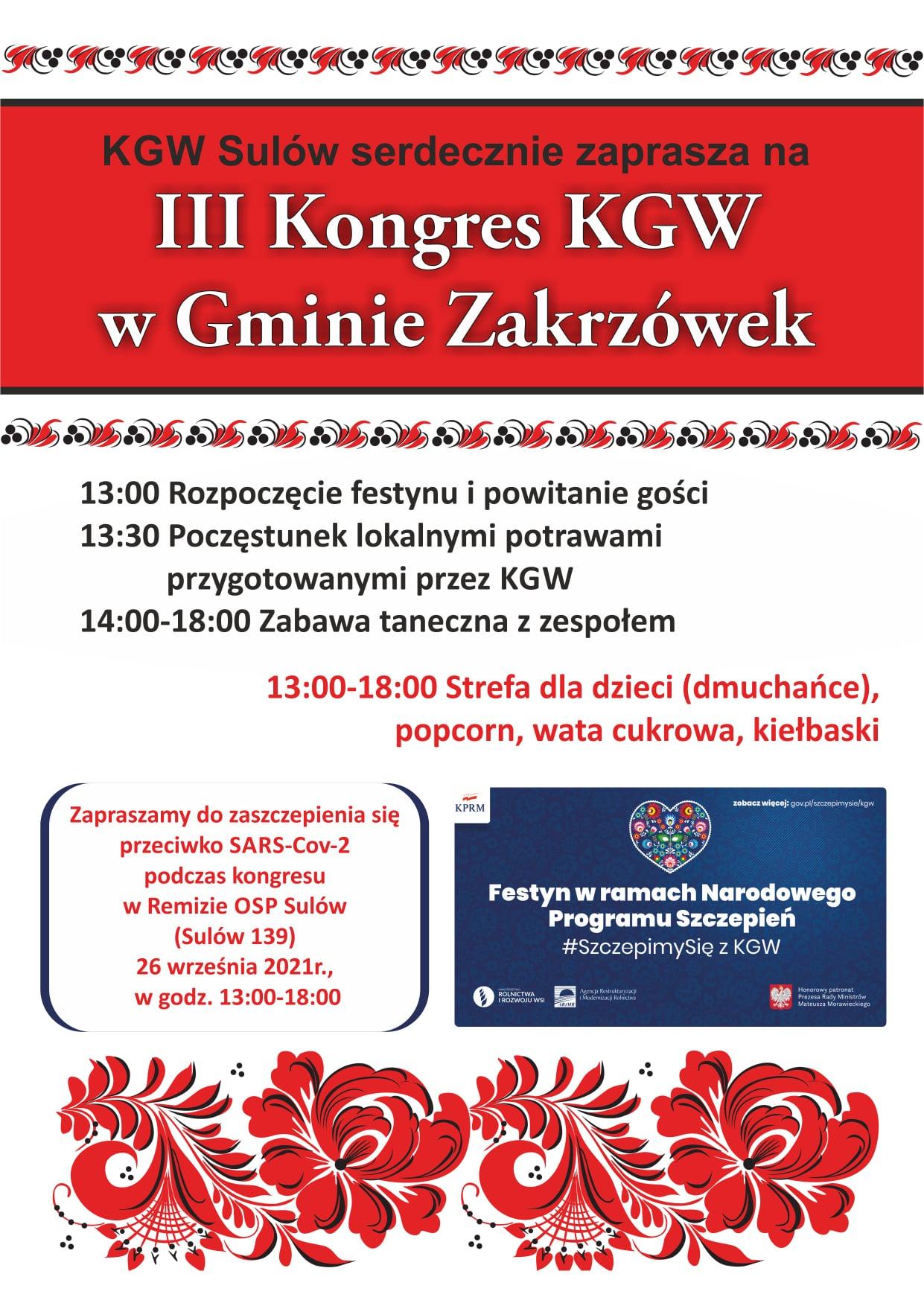 III Kongres KGW w Gminie Zakrzówek 26.09.2021 r.