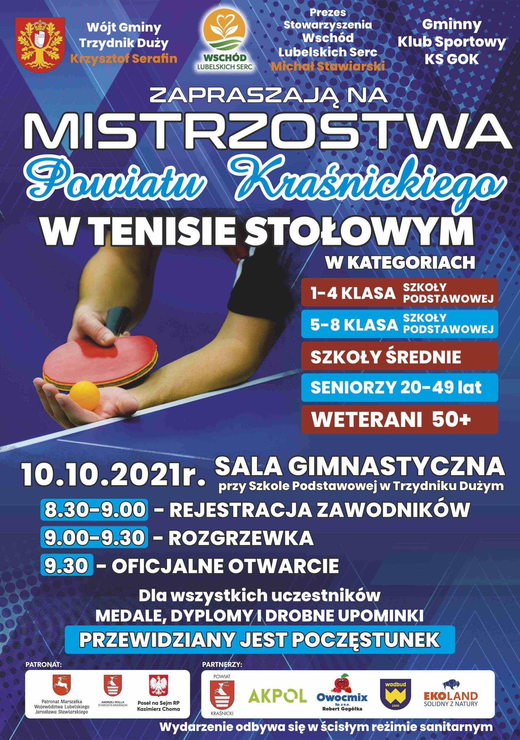 Mistrzostwa Powiatu Kraśnickiego w Tenisie Stołowym